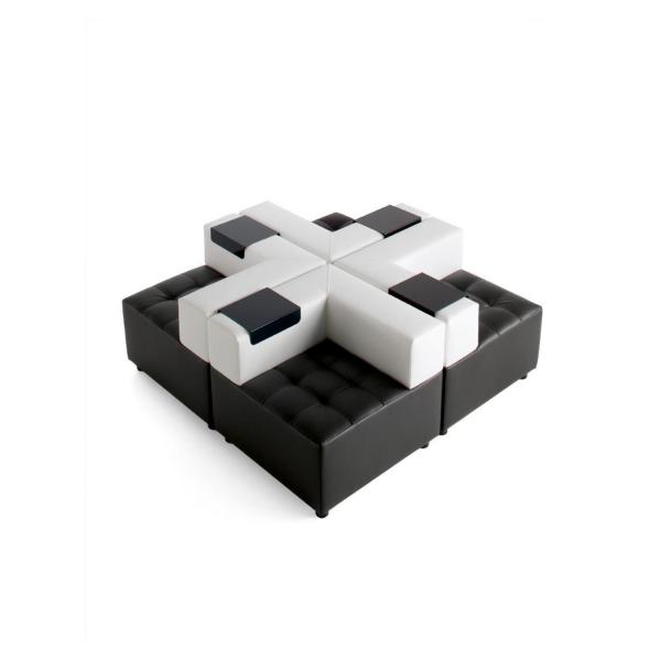 divano in pelle componibile bianco e nero